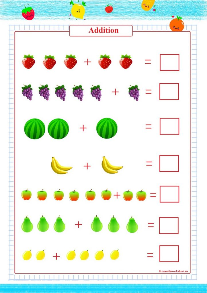addition worksheet with pictures, addition within 10 worksheet