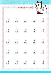multiply by zero worksheet,  умножить на ноль,  mit Null multiplizieren,  multiplier par zéro,  multiplicar por cero,  moltiplicare per zero