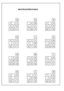 multiplication puzzle worksheet, puzzle di moltiplicazione,  rompecabezas de multiplicación,  puzzle de multiplication, Multiplikationspuzzle, головоломка умножения