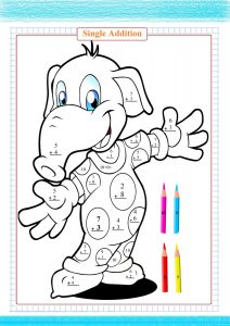 single digit addition worksheet, coloring pages,