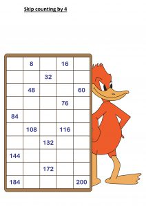 skip counting by 4s worksheet