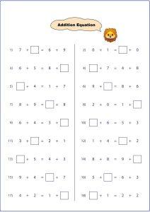 addition equation worksheet