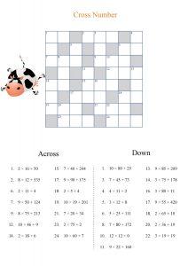 cross number worksheet,