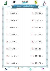 double digit addition worksheet printable pdf