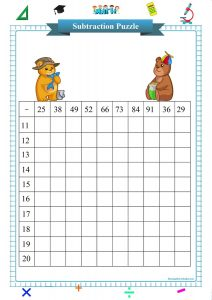double digit subtraction square puzzle worksheet pdf, Subtraktionsübungen,  exercices de soustraction,  esercizi di sottrazione,  ejercicios de resta,  упражнения на вычитание,