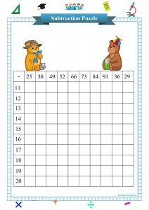 double digit subtraction square puzzle worksheet pdf, Subtraktionsübungen,  exercices de soustraction,  esercizi di sottrazione,  ejercicios de resta,  упражнения на вычитание,