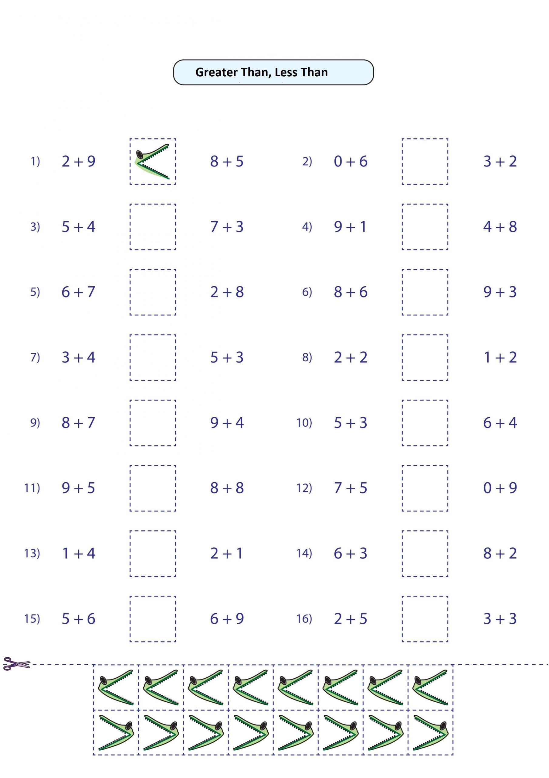 greater than less than cutting worksheet (3) - Free Math ...