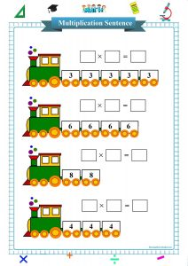 multiplication sentence worksheet printable pdf,
