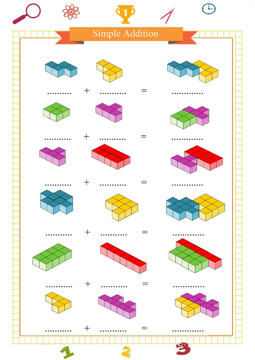 simple addition worksheet with blocks | Free Math Worksheets