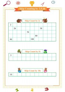 skip counting by 2s worksheet, skip counting by 5s worksheet, skip counting by 10s worksheet