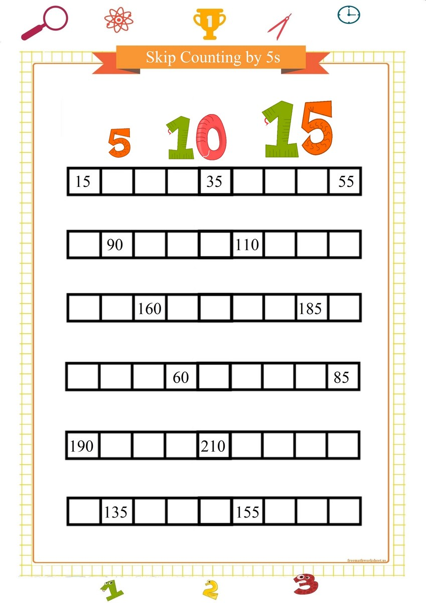 Skip counting by 5 worksheets   Free Math Worksheets