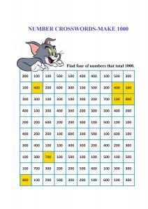 number crossword, addition worksheet