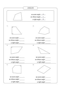 types of angles worksheet, an acute angles worksheet,