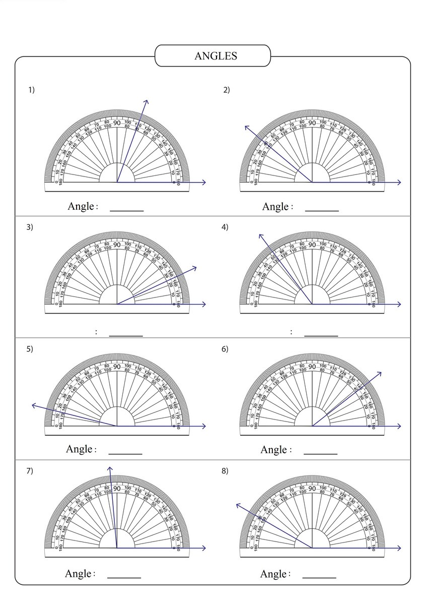 Reading Protractor 6 Free Math Worksheets