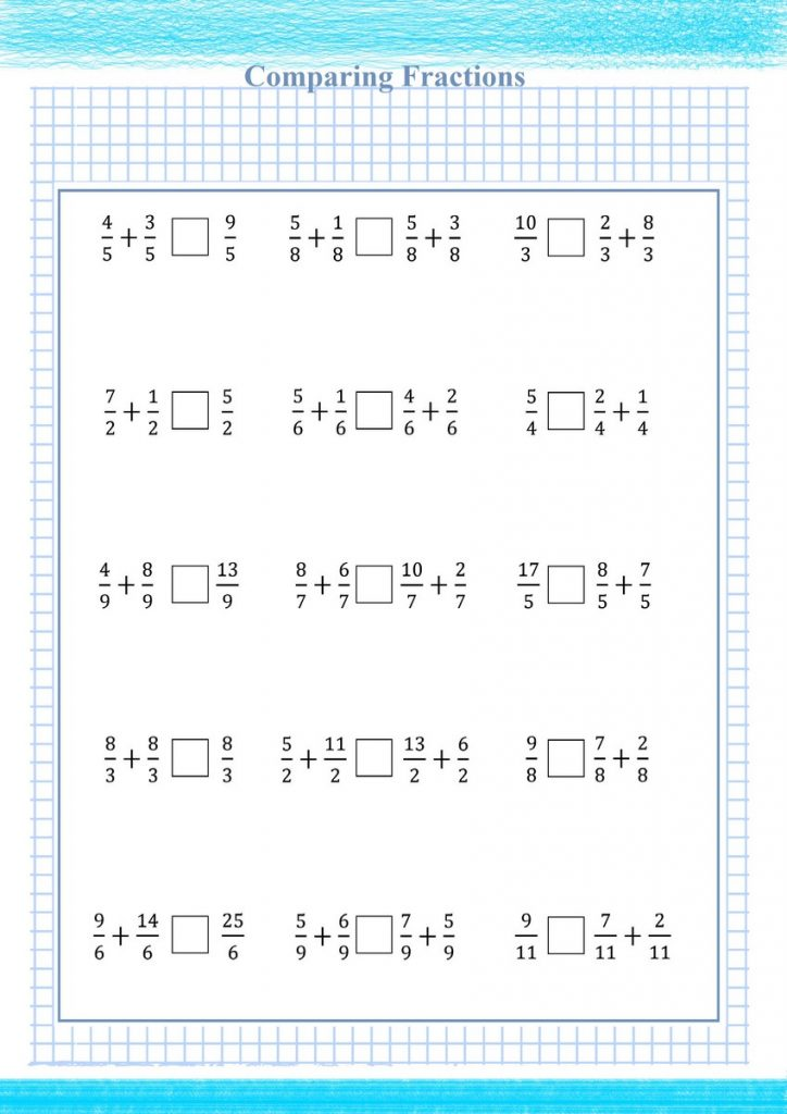 adding and comparing fraction worksheet,