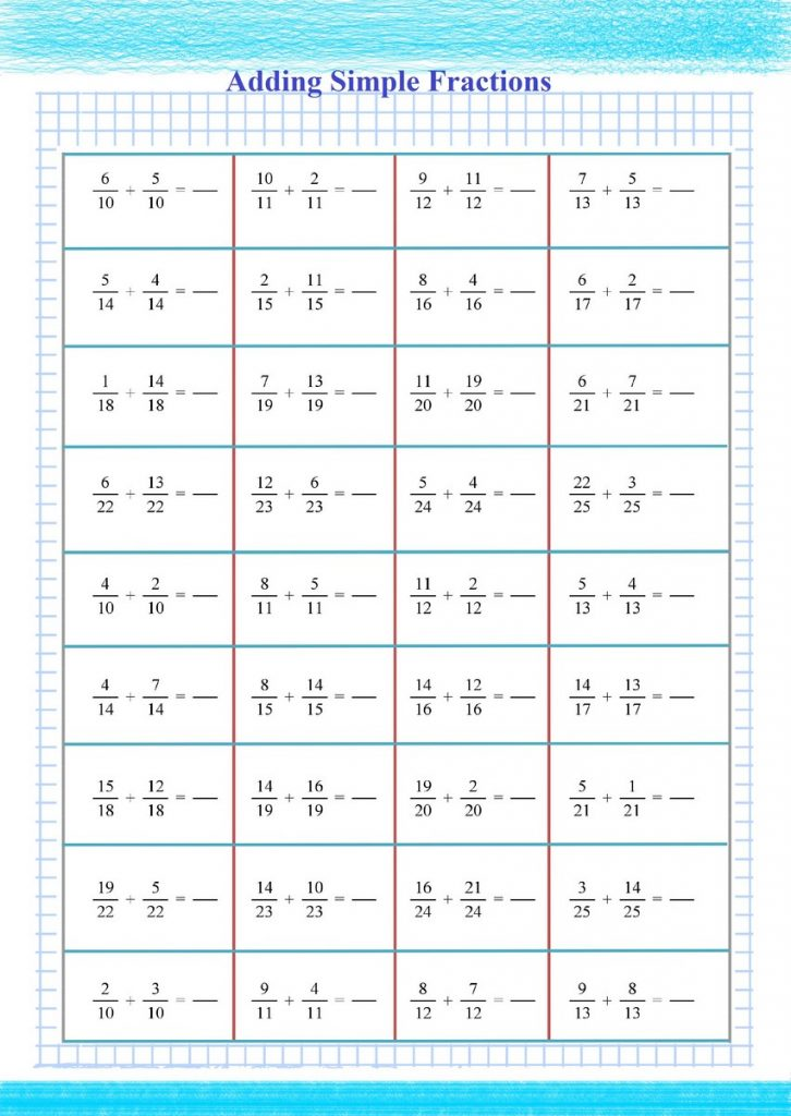 Adding Fractions Practice - Free Math Worksheets