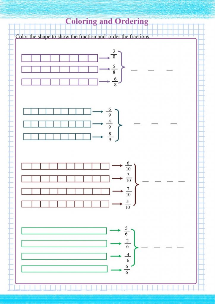 ordering fractions visual worksheet,