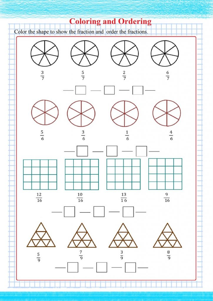 ordering fractions visually,