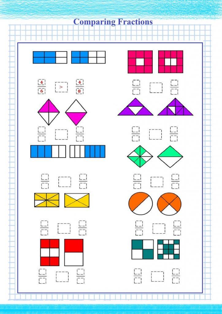 Comparing Fractions Visual Worksheet Free Math Worksheets