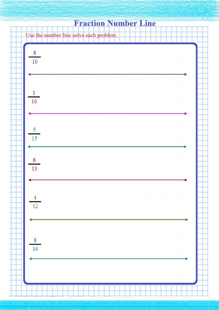 fractions number line worksheets,