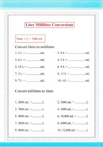 liter milliliter conversions worksheets