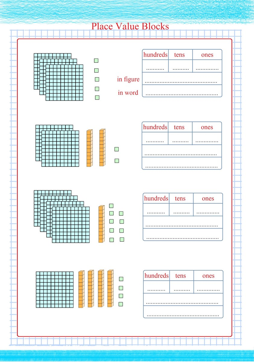 number of place value blocks and reading Free Math Worksheets