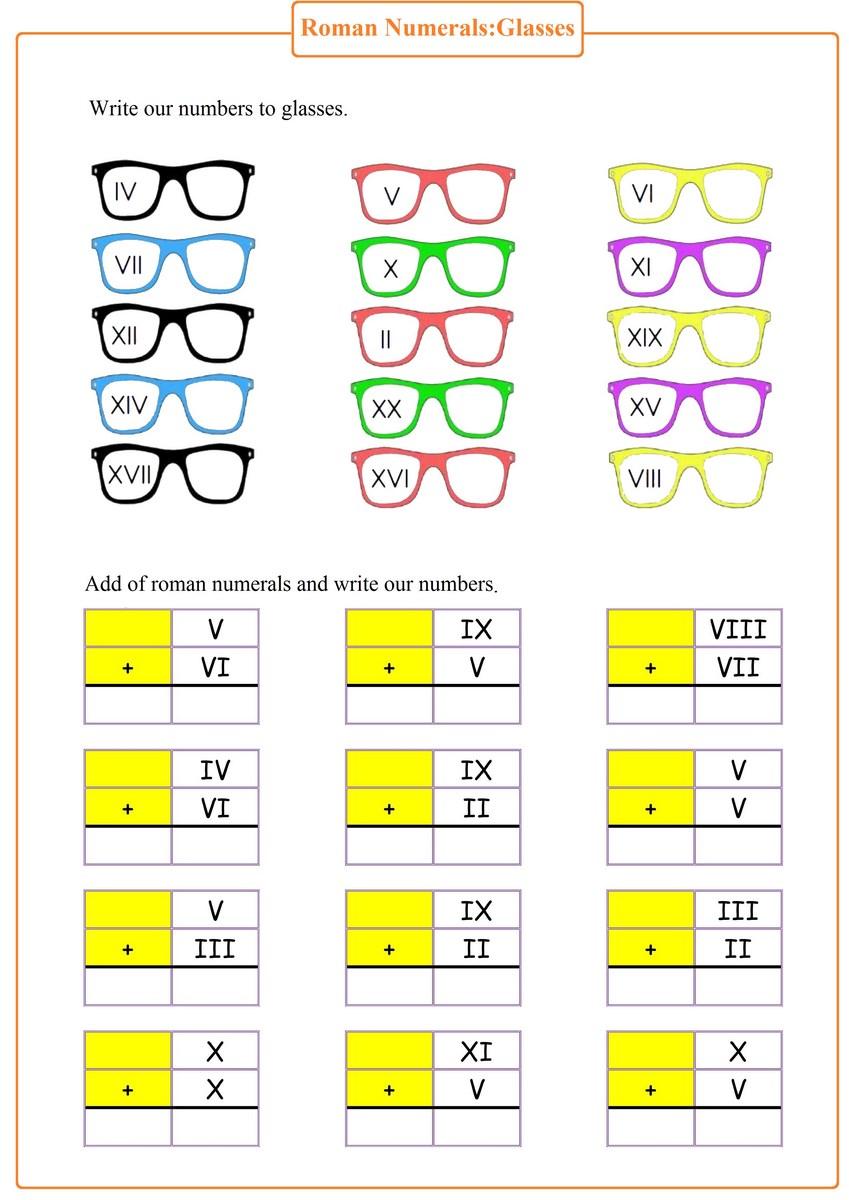 roman numerals worksheet | Free Math Worksheets
