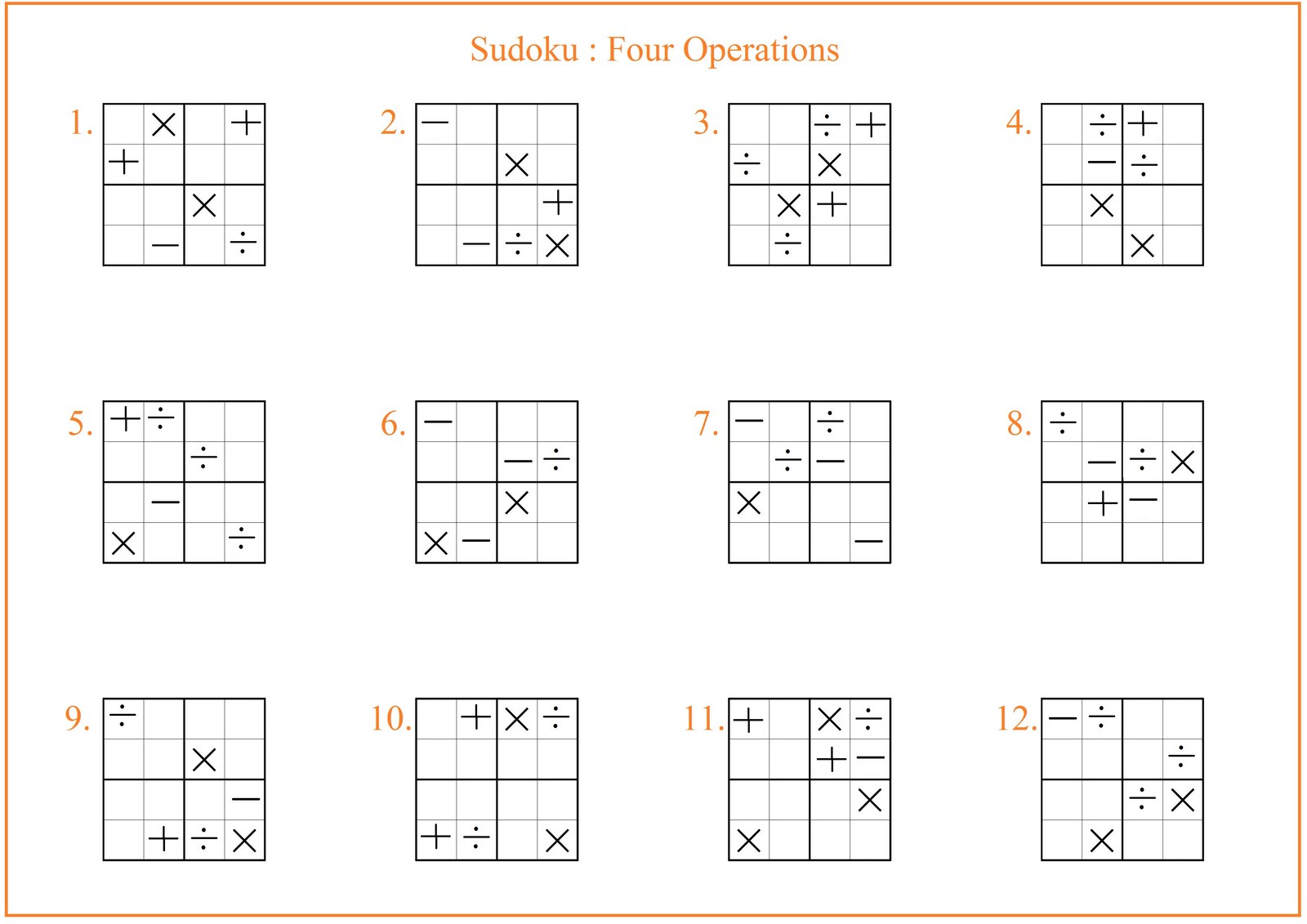 Sudoku Four Operations Worksheet Free Math Worksheets