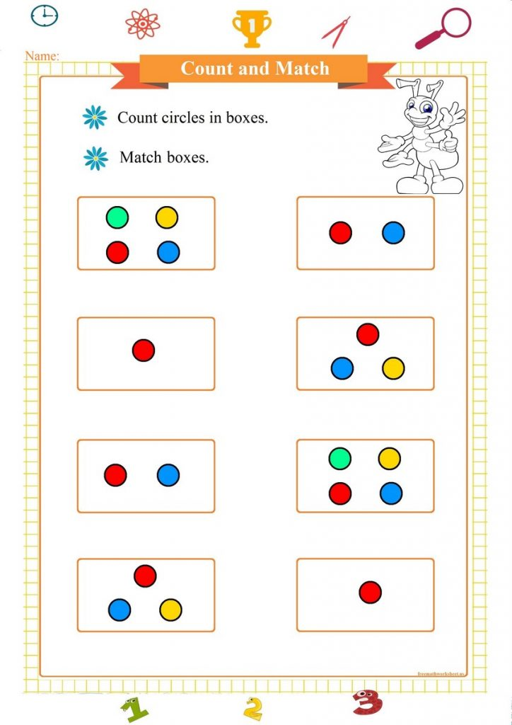 count and match worksheet for preschool pdf