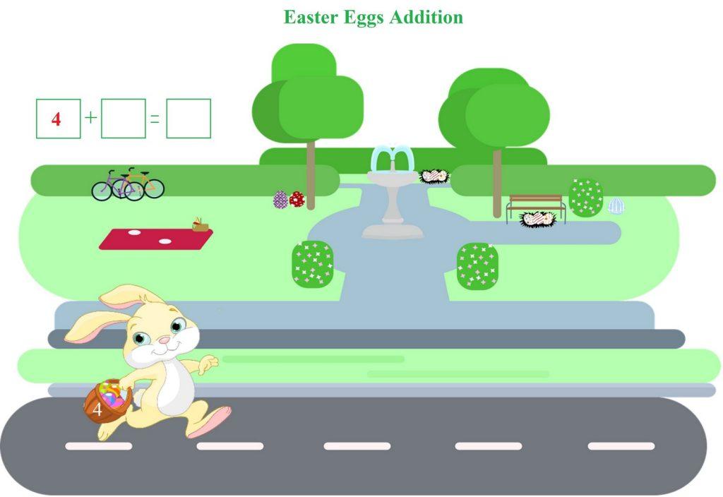 easter eggs addition worksheet for kindergarten