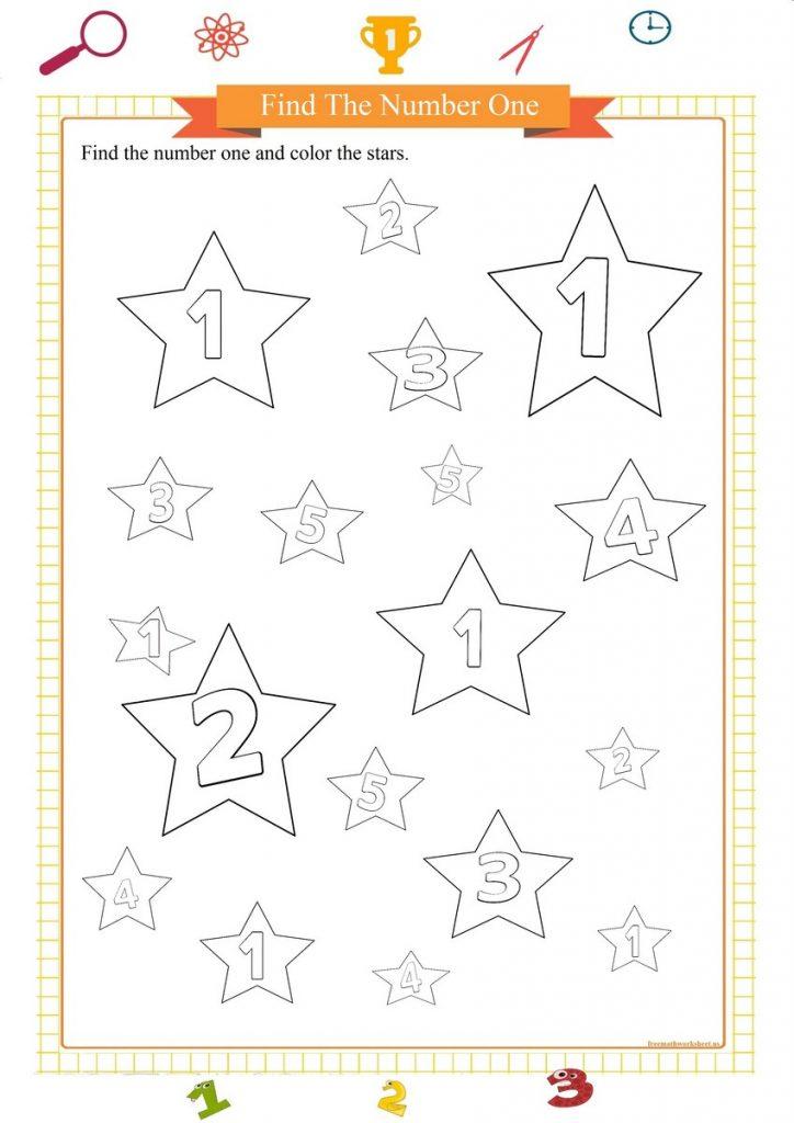 number one worksheet for preschool