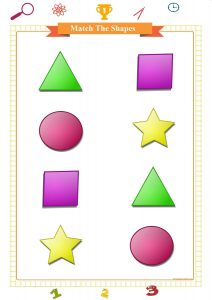 match the geometric shapes worksheet for preschool