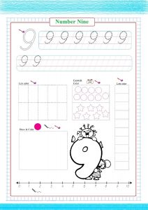number nine worksheet, number nine worksheet printble pdf, número nueve, Nummer neun,  numéro neuf,