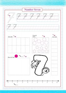 number seven worksheet, coloring number seven, draw number seven, практика номер семь, la práctica número siete,