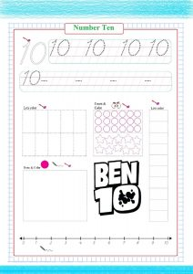 number ten worksheet , coloring ben 10, numéro 10 pratique , Nummer 10 üben, práctica número 10,