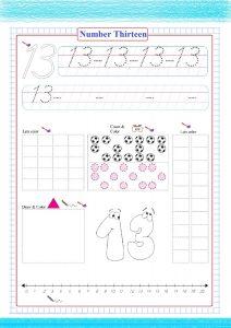 number thirteen worksheet pdf, countin number worksheet , число тринадцать , numéro treize , Nummer dreizehn , número trece ,