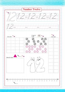 number twelve worksheet , counting number worksheet , número doce , Nummer zwölf , numéro douze , число двенадцать ,