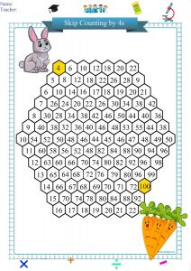 skip counting by 4s worksheet printable pdf