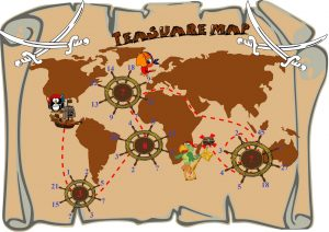 teasure map, math challenges worksheet, number pattern problems,