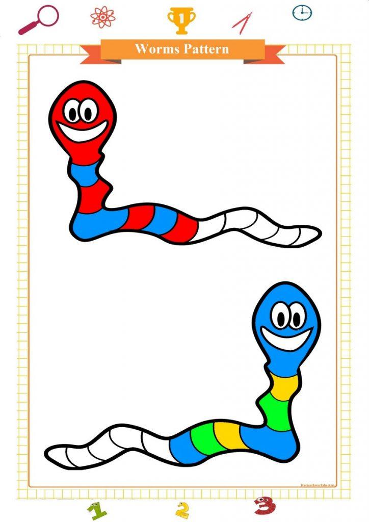 worms pattern worksheet for preschool pdf,