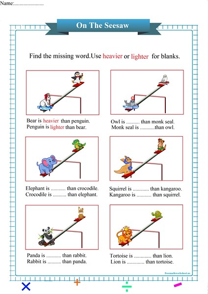 heavier or lighter worksheet pdf