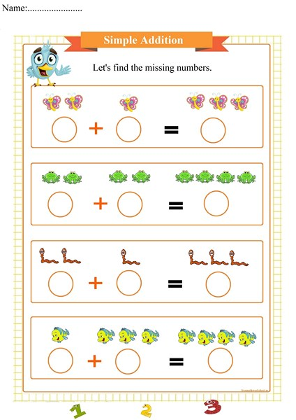 simple addition worksheet, feuille de calcul d'addition simple, ورقة عمل إضافة بسيطة,  hoja de trabajo de adición simple, простой лист добавления,  简单的添加工作表,