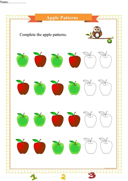 apple pattern worksheet for preschool pdf