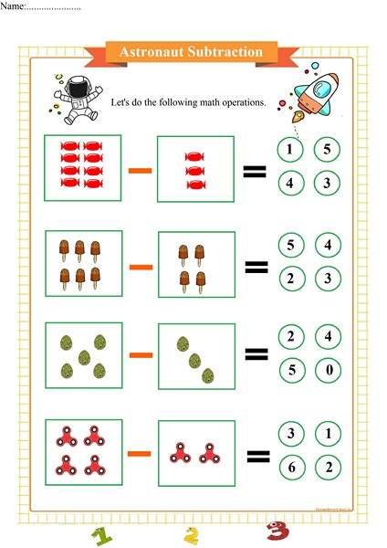 Astronaut Simple Subtraction Worksheet Free Math Worksheets