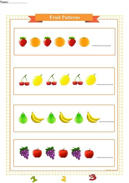 fruit pattern worksheet for preschool,
