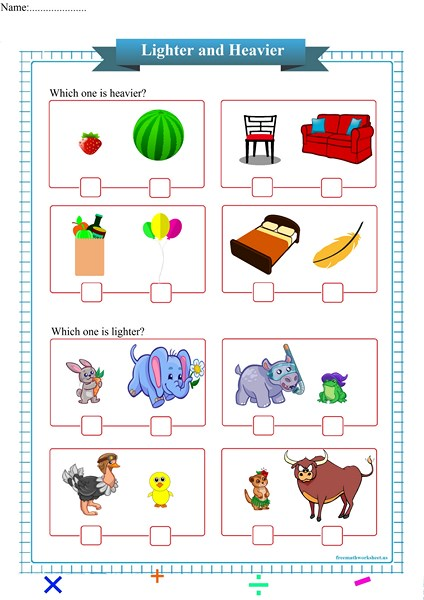 lighter and heavier worksheet printable pdf,