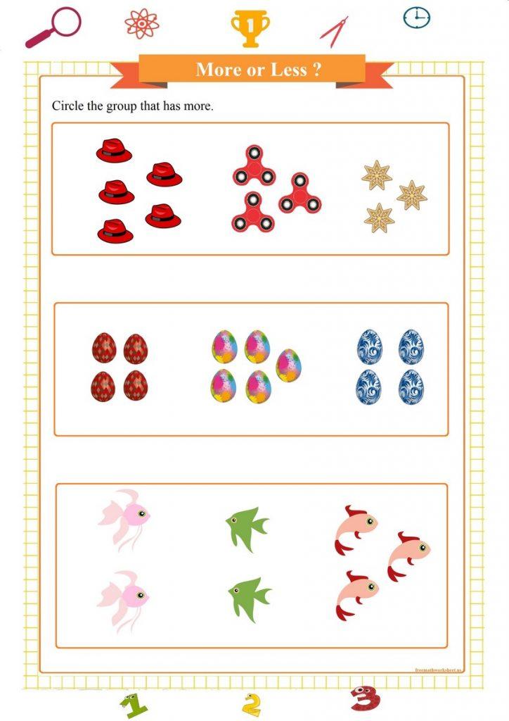 more or less worksheet for preschool printable pdf,  weniger oder mehr Arbeitsblatt,  menos o más hoja de trabajo,  meno o più fogli di lavoro, ورقة عمل أقل أو أكثر,