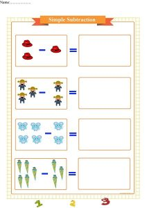 simple subtraction worksheet for preschool,