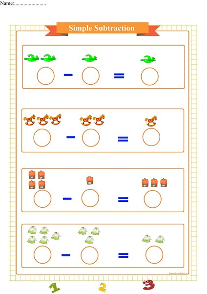 simple subtraction worksheet for preschool pdf,