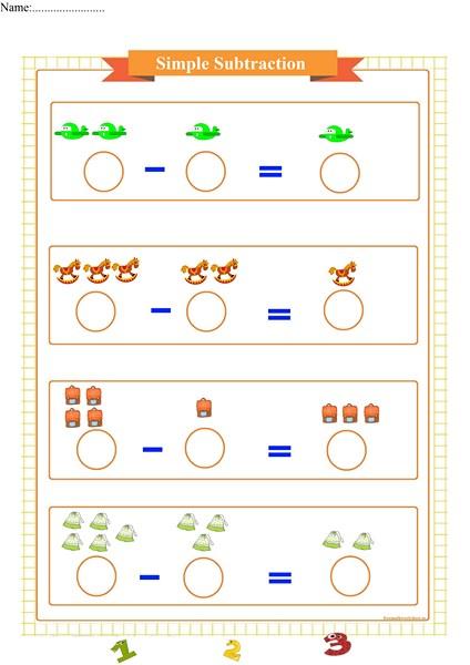 Simple Subtraction Worksheet For Preschool Free Math Worksheets